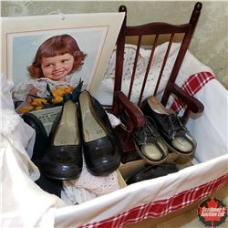 Box Lot: Jack & Jill Fitters Size 2 & 3 Children's Shoes, Ornamental Chair, 1963 Calendars, Baby Clo