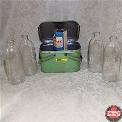 Miniature Tin Picnic Basket w/Nursery Rhyme Baby Bottles (4) + Pyrex Nursing Bottle