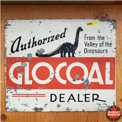 """Tin Sign (17"""" x 14"""")   """"Authorized Glocoal Dealer"""" """"from the Valley of the Dinosaurs"""""""