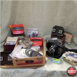 View Masters (6) & Collection of Discs & View Master Projector & 4 B&W Children's Stories Souvenir P