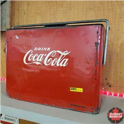 """Coca Cola Picnic Basket Cooler 1953 Flat Top (16""""W x 7""""D x 12""""H)"""