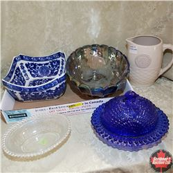 Tray Lot: Medalta Pitcher & Assorted Glassware (Blue, Clear & Irodized)