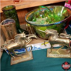 Tray Lot - Green & Brass Theme:  Punch Bowl & Ornaments