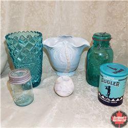 Tray Lot - Teal Theme: Vase, Jar, Tobacco Tin, etc