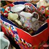 Image 1 : Box Lot - Glassware : Carnival Glass Egg Plate, Tiger Ornaments, Water Pitcher, etc