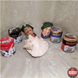 2 Bosson Style Heads (Made in England); Conch Sea Shell, 4 Tobacco Tins (Ship Theme)