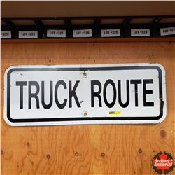 """Metal Sign : """"Truck Route""""  (24"""" X 9"""")"""