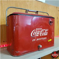 "Coca Cola Picnic Basket Cooler (Progress Refrigerator Co. Louisville, KY)  (18""W x 9""D x 12""H)"