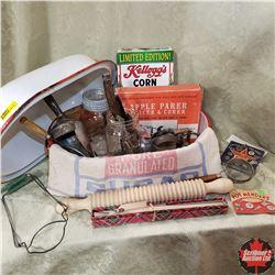Enamel Roaster w/Contents: Rolling Pin, Scoop, Jars, Beaters, Apple Slicer/Corer, Sugar Bag, etc