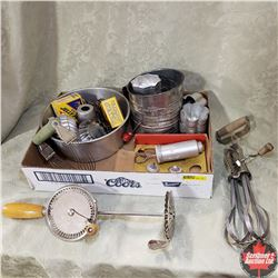 Tray Lot - Kitchen Theme: Beaters, Mixing Bowl, Cake Decorating, Flour Sifter, etc