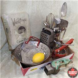 Tray Lot - Kitchen Theme: White House Cookbook, Strainer, Juicer, Grater, Utensils, etc