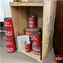 Blue Ribbon Collection : Wooden Crate, Cook Book, 7 Tins, Framed Nabob Coupons & Framed Ad