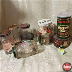 Nabob Grouping : 3 Tins, 5 Jars, Coupons, Spice Tins, Pudding Box, etc