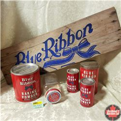 Blue Ribbon Grouping: 4 Tins, 1 Jar, 1 Coupon & Crate Box Side
