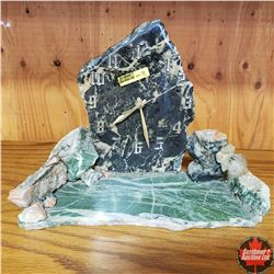 Custom Stone Clock - Made By Bert Young from Kirkland Lake, ON (Ore & Base Green Carbonate & Quartz)