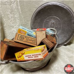 Dough Pan w/Lid & 11 Cheese Boxes