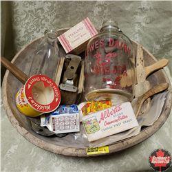 Large Wooden Bowl w/Treenware, 1 Gallon Milk Jug & Variety Dairy Items