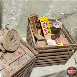 2 Egg Crates w/Milk Bottle, Wooden Cheese Box, Cardboard Ice Cream Containers, 2 Types Wooden Butter