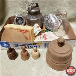 Tray Lot: Mini Wooden Butter Presses, Mini Cream Can, Small Milk Bottle, Wooden Paddle, etc