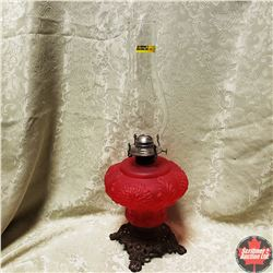 Coal Oil Lamp - Cast Iron Footed Base - Red Glass