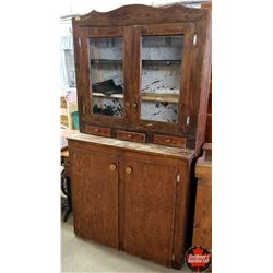 """Country Step Back Kitchen Cupboard (40""""W x 21""""D x 75""""H)"""