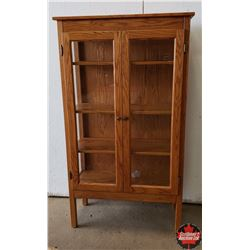 """Oak Glass Front / Sides China Cabinet (34"""" W x 14""""D x 60""""H)"""