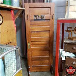 """Refurbished Door """"Parlor"""" (30""""W x 78""""H) - Freestanding with Hat/Coat Hooks"""