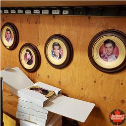 Solid Gold Elvis Presley Collector Plates (5) & 4 Holders