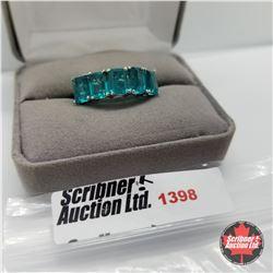 CHOICE OF 31 RINGS:  1398 Ring - Size 10: Capri Blue Quartz (Platinum Overlay)