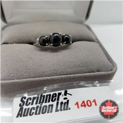 CHOICE OF 31 RINGS:  1401 Ring - Size 10: Black Star Diopside (Platinum Overlay)