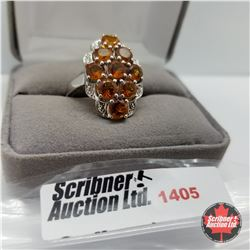 CHOICE OF 31 RINGS:  1405 Ring - Size 10: Citrine - Sterling Silver - Platinum Bond Overlay
