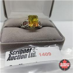 CHOICE OF 31 RINGS:  1409 Ring - Size 10: Rainbow Genesis Quartz Garnet (Platinum Overlay) - Sterlin