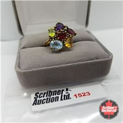 CHOICE OF 31 RINGS:  1523 Ring - Size 6: Multi Color - Sterling Silver - 14k Overlay