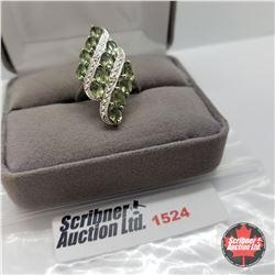 CHOICE OF 31 RINGS:  1524 Ring - Size 7: Moldovite - Sterling Silver - Platinum Bond Overlay