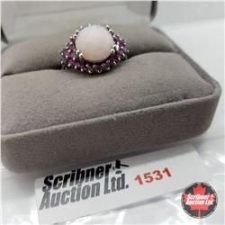 CHOICE OF 31 RINGS:  1531 Ring - Size 7: Peru Opal Garnet - Sterling Silver - Platinum Bond Overlay