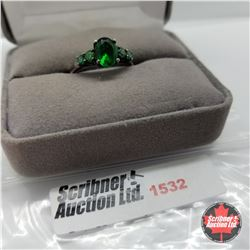 CHOICE OF 31 RINGS:  1532 Ring - Size 7: Sim Emerald - Sterling Silver