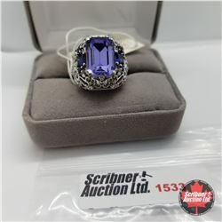 CHOICE OF 31 RINGS:  1533 Ring - Size 6: Lab Blue Sapphire (Platinum Bond)