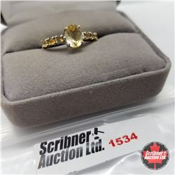CHOICE OF 31 RINGS:  1534 Ring - Size 10: Citrine - Sterling Silver - Platinum Bond Overlay