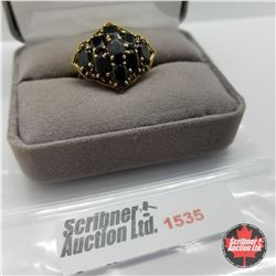 CHOICE OF 31 RINGS:  1535 Ring - Size 7: Black Spinel - Sterling Silver - 14k Overlay