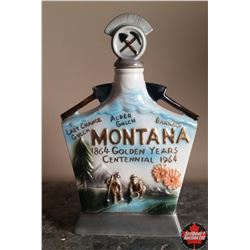 5 Decanters: Montana centennial souvenir - empty & Canada Centennial Souvenir, contains the original