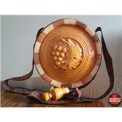 Hand Carved Wooden Canteen, with stopper and strap, empty.