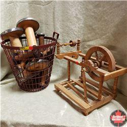 Wire Basket w/Wooden Spools & Mini Spinning Wheel