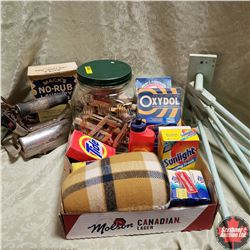 Tray Lot: Laundry/Sewing Theme (Wall Mount Clothes Dryer, Laundry Soap, Elec Iron, Jar Clothes Pins