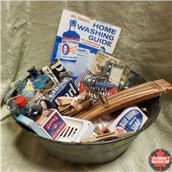 """Tin Tub """"Pearl Soap"""" w/Contents: Laundry Theme (Retracting Clothes Line, Hangers, Soap, Pegs, Bluing"""
