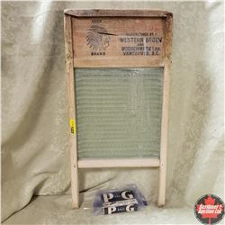 """Chief Brand """"The Cascade"""" Glass Washboard w/Bar of P&G Soap"""
