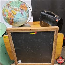 School Theme Combo: Slate Tablet (18  x 20 ) & Metal Lunch Kit w/Thermos & Globe