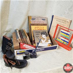 Tray Lot: School Supplies (Pencil Boxes, Reader Books, Abacus, Pen & Ink, Boots)