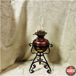 Copper Base Coal Oil Lamp on Wrought Iron Stand
