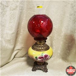 Coal Oil Lamp (Brass Insert) Red Globe & Painted Floral (Cast Iron Footed)