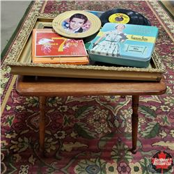 Children's Table w/Cast Picture Frame, 45's, Elvis Collector Plate, Ladies Nylons